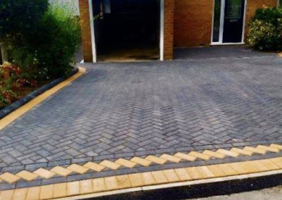 Block paving driveway with two colours