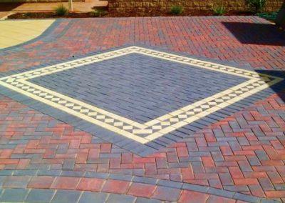 Block paving with diamond pattern