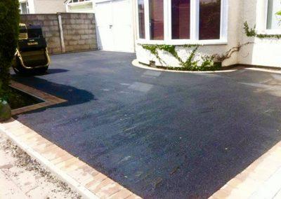 Dark Tarmac driveway with border install