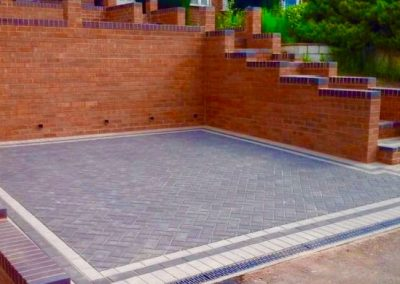 Driveway with a block paving border