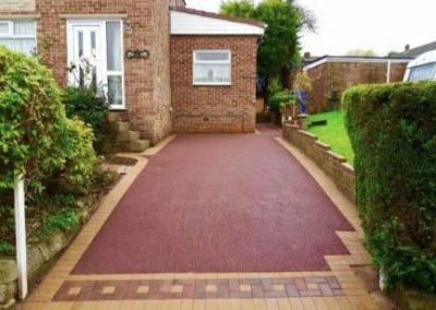 Tarmac driveway red with block paving border